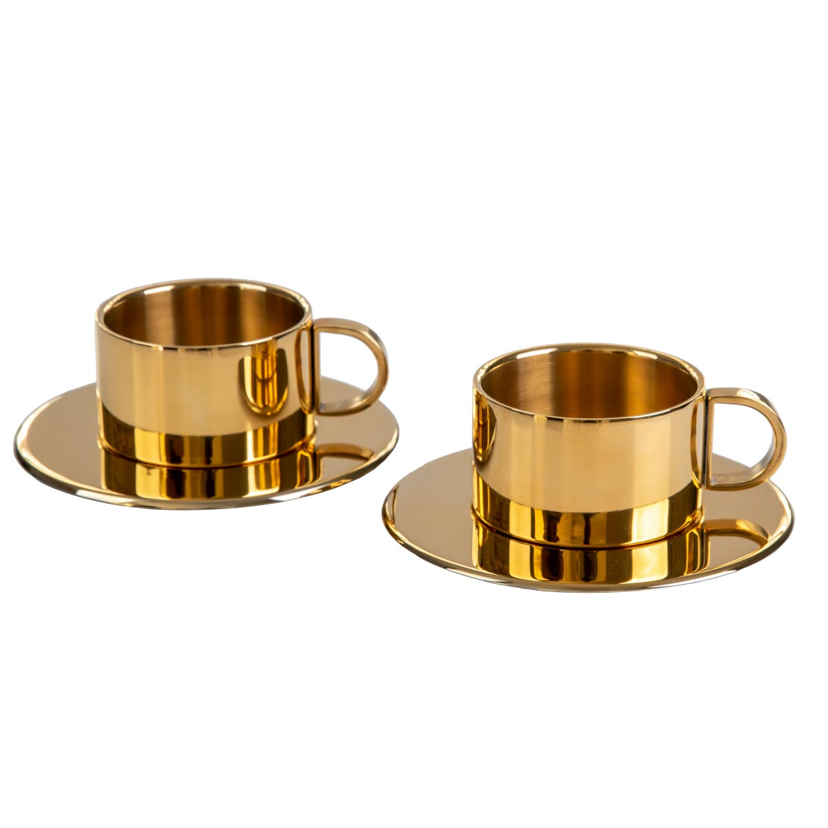 Luxury Espresso cups 24K Gold plated with saucers