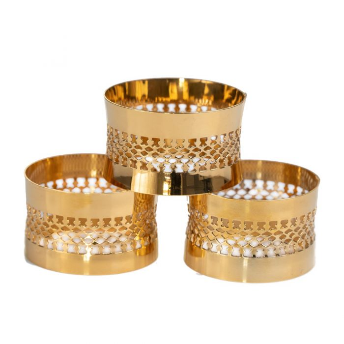 Elite Luxury Gold Plated Napkin Rings x 6