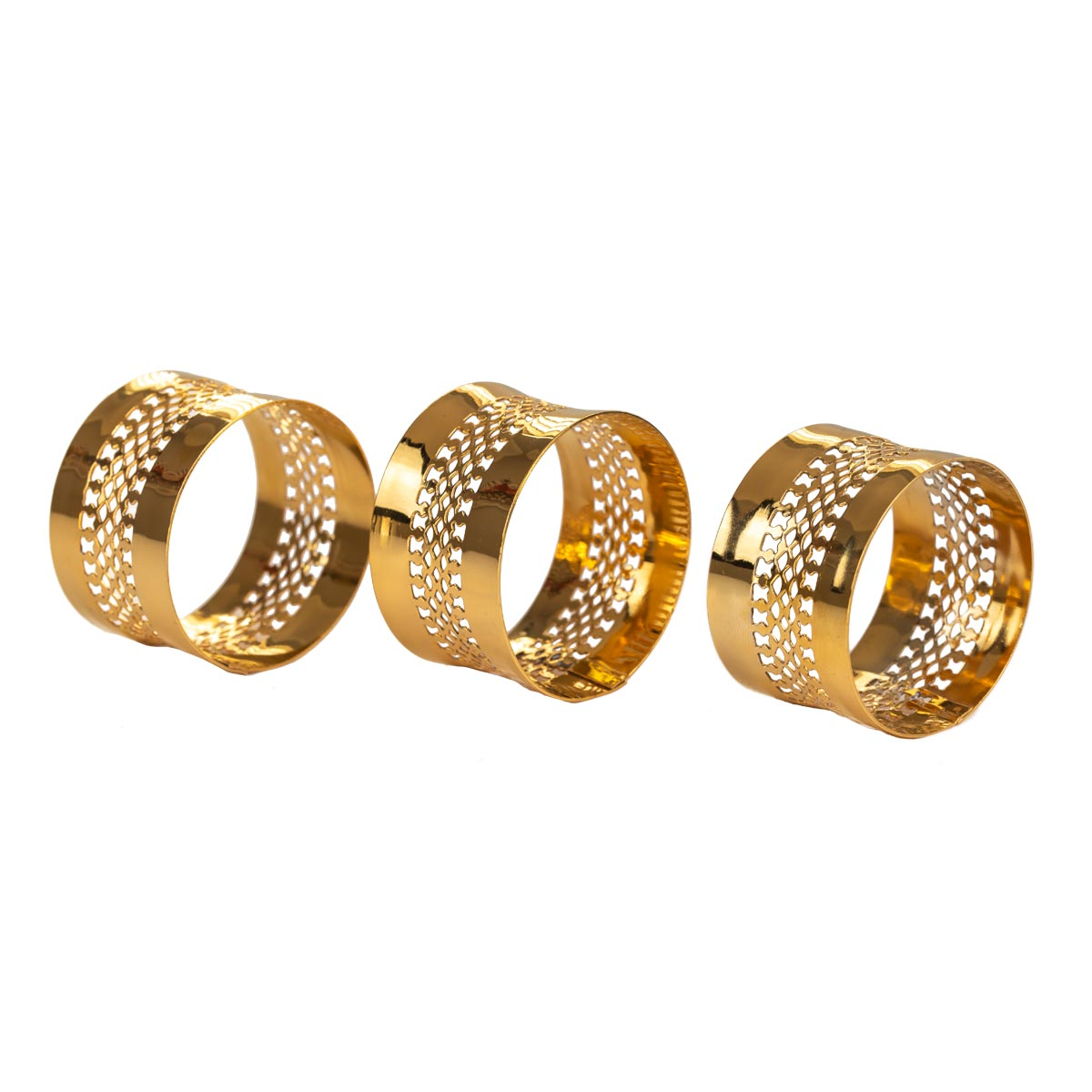 Elite Luxury Gold Plated Napkin Rings x 6