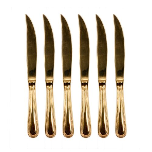 Arthur Price 24K Gold Plated Beaded Steak Knives- Set of 6