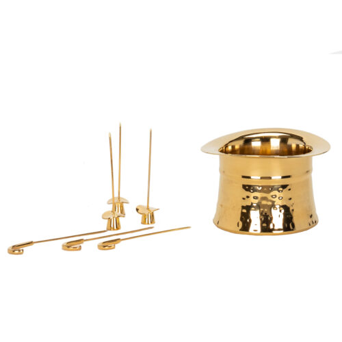 Top Hat Nibbles Bowl with olive picks 24K Gold Plated