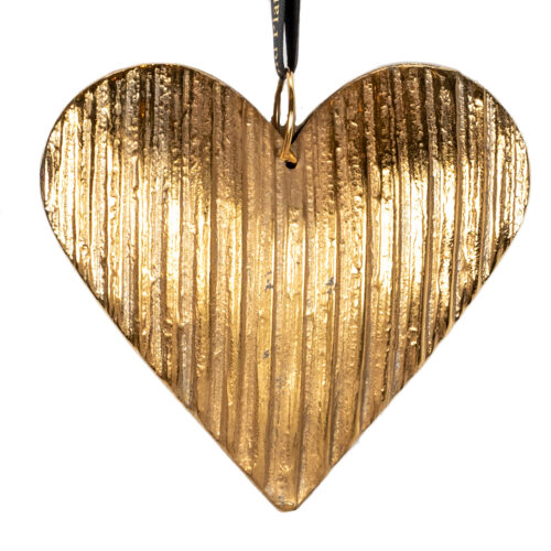 Large Fluted Heart Decoration-24K-Gold
