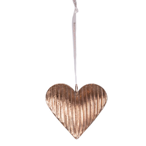 Large Fluted Heart Decoration-Rose-Gold