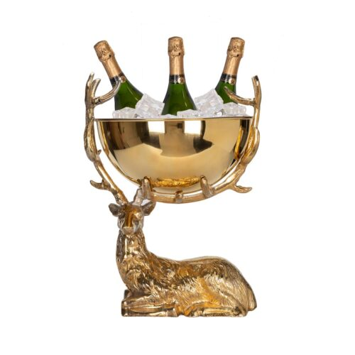 Elite Luxury Gold Plating-24K Gold Plated Stag Resting Punch bowl