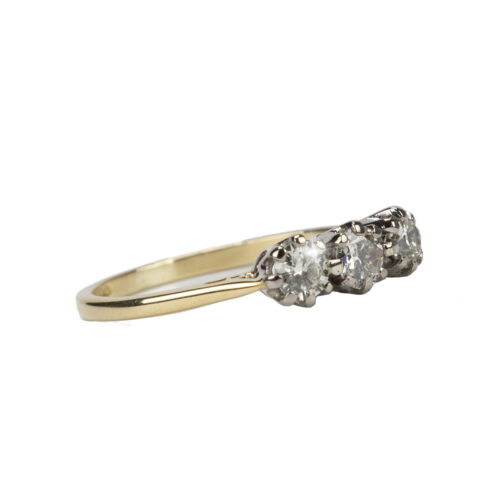 18k Yellow Gold Diamond 3 Stone Ring