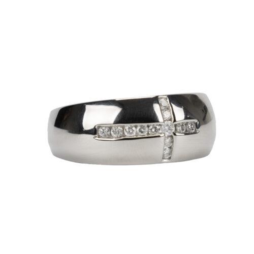 9K White Gold & Diamond Ring